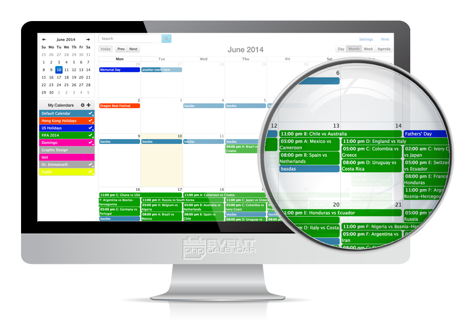 PHP Event Calendar Month View